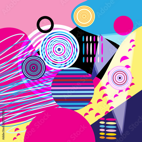 Abstract color vector background of different objects