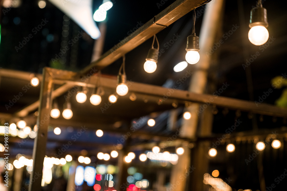 Fototapety, obrazy: Hanging lamp with line bokeh lights background