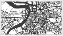 Antwerp Belgium City Map In Bl...