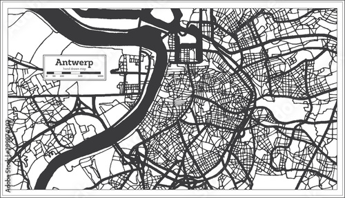Photo Antwerp Belgium City Map in Black and White Color. Outline Map.