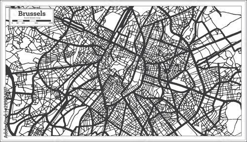 Fotografie, Obraz Brussels Belgium City Map in Black and White Color. Outline Map.