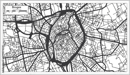 Billede på lærred Bruges Belgium City Map in Black and White Color. Outline Map.