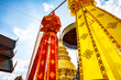 Leinwanddruck Bild - Phra That Hariphunchai pagoda with beautiful lantern in Lamphun Lantern Festival
