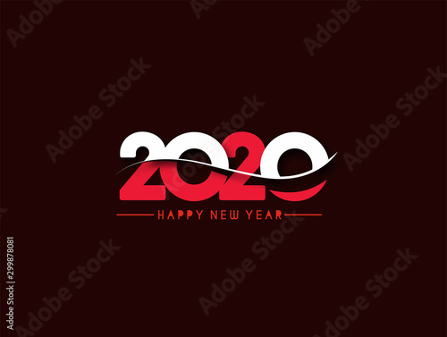 Fototapeta Happy New Year 2020 Text Typography Design Pattern, Vector illustration. obraz