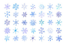 Collection Of Artistic Blue Snowflakes With Watercolor Texture. Stock Vector Set. Can Be Used For Printed Materials, Prints, Posters, Cards, Logo. Abstract Background. Hand Drawn Decorative Elements.