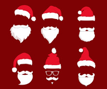 Santa Claus Hat And Beard. Red Merry Christmas Card Illustration