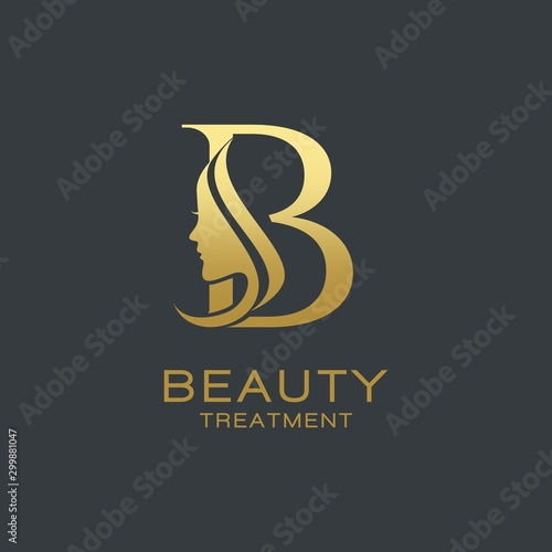 Cuadros en Lienzo  Letter B beauty Face Logo Design Vector Icon
