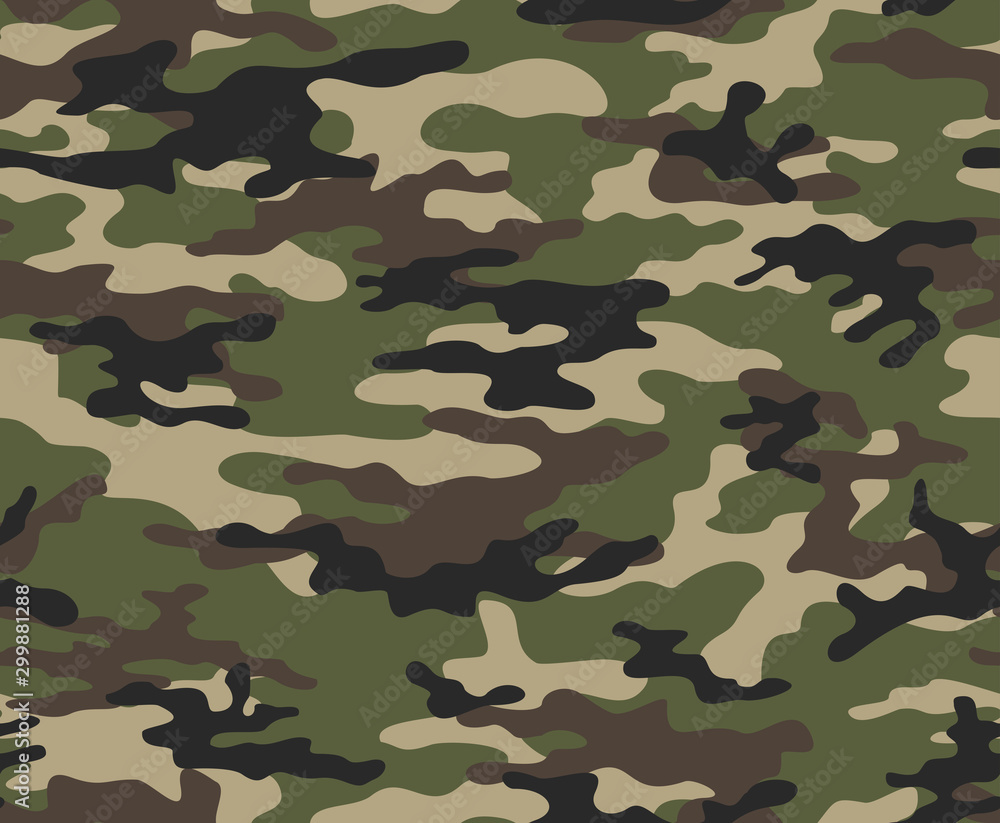 Fototapeta Camouflage army seamless vector pattern for print.