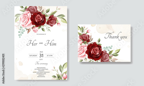 Cuadros en Lienzo  beautiful floral wreath wedding invitation card template