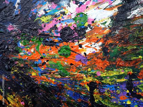 Colorful oil painting abstract background and texture. © vikorn
