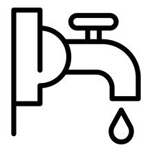 Water Faucet Icon. Outline Wat...