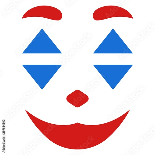 Face makeup joker oscar isolated on white background 2019 playing card flute sty Canvas Print