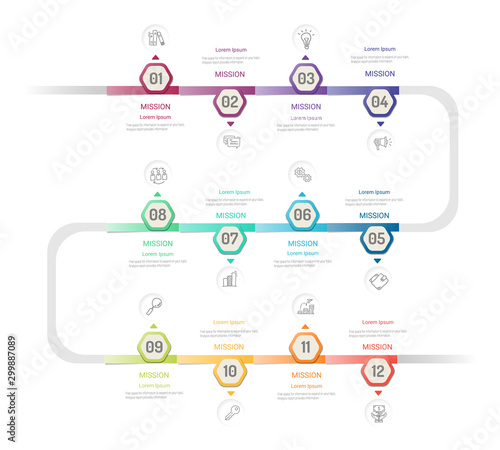 Papel de parede  Year planner, 12 months, 1 year, Timeline infographics design vector and Presentation business can be used for Business concept with 12 options, steps or processes