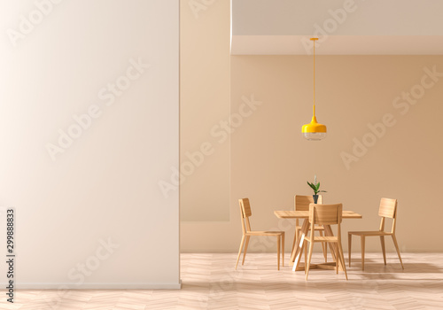 Fotomural  Empty wall mock up in modern dining room with wooden chair and table