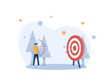 Businessman Hitting The Target,modern Flat Design Style Colorful Illustration On White Background