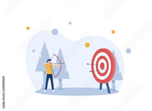 Fotografia, Obraz Businessman hitting the target,modern flat design style colorful illustration on