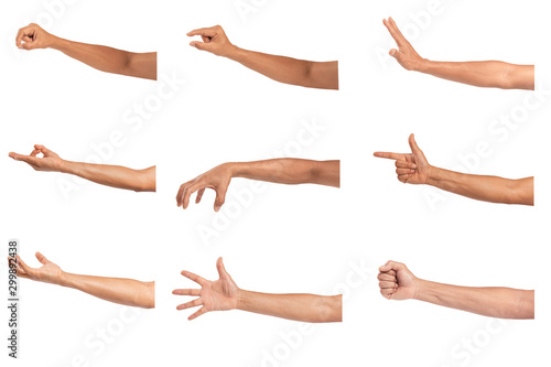 Valokuvatapetti Set of Man hands isolated on white background.