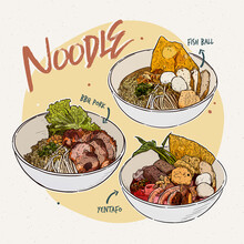 Noodle Collection, Thai Food. Hand Draw Sketch Vector.