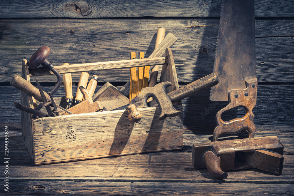 Fototapety, obrazy: Closeup of joinery tool box in rustic wooden shed