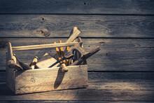 Old Carpenters Tool Box In Rus...