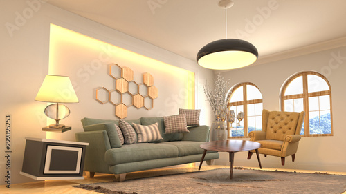 Fotografia, Obraz Zero Gravity Sofa hovering in living room. 3D Illustration