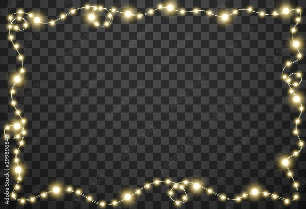 Fototapeta Christmas lights isolated on transparent background, vector illustration