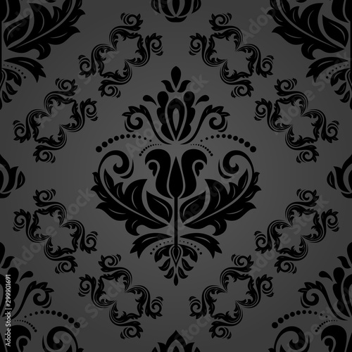 Orient classic pattern. Seamless abstract background with black vintage elements. Orient background. Ornament for wallpaper and packaging