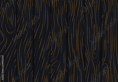 Fényképezés Vector illustration of dark wood texture, with gold patina