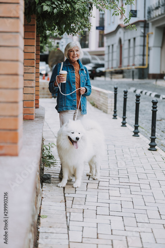 Smiling charming old woman walking her fluffy dog