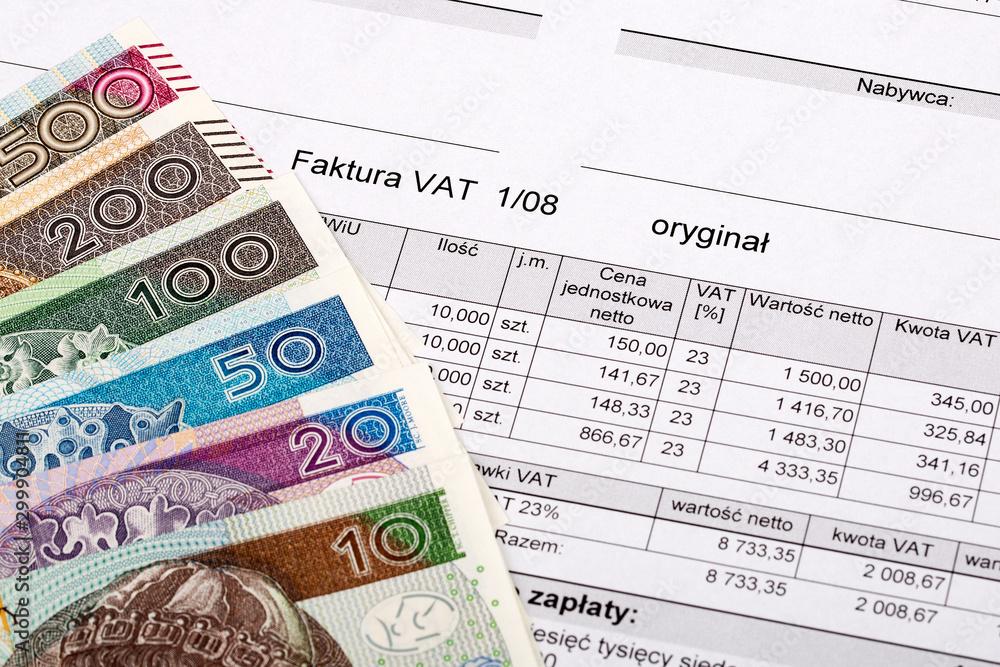 Fotografie, Tablou  Polish VAT invoice with Polish Zloty