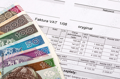 Valokuva  Polish VAT invoice with Polish Zloty