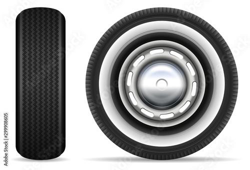 Vászonkép Vintage car tires isolated on white background vector illustration