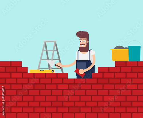 Cuadros en Lienzo Flat young man bricks stacker with equipment makes wall.