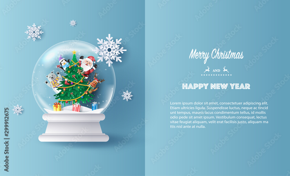Fototapety, obrazy: Paper art style of Santa Claus and friends, reindeer, bear and penguin in Christmas globe, Merry Christmas and Happy New Year concept.