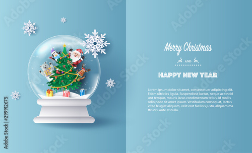 Fotografía  Paper art style of Santa Claus and friends, reindeer, bear and penguin in Christmas globe, Merry Christmas and Happy New Year concept