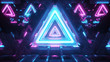 canvas print picture Abstract flying in futuristic metal corridor with triangles, seamless loop 4k background, fluorescent ultraviolet light, laser neon lines, geometric endless tunnel, blue pink spectrum, 3d illustration