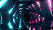 canvas print picture Flying through a luminous neon corridor of swirling hexagons. Blue red pink purple spectrum, fluorescent ultraviolet light in the tunnel, modern colorful lighting, 3d illustration
