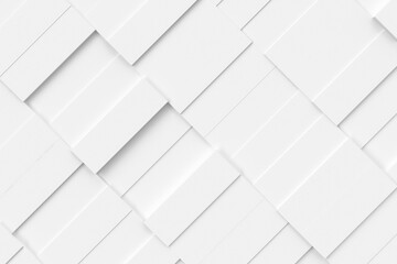 White abstract moving structure of rectangles. Light bright clean minimal rectangular grid pattern, random waving motion background canvas in pure white wall. 3d illustration