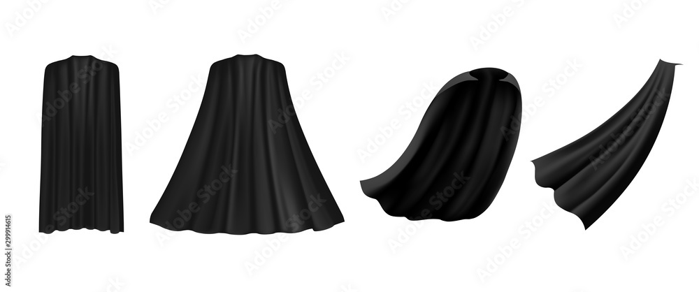 Fototapeta Superhero black cape in different positions, front, side and back view on white background. Costume party clothing, masquerade.