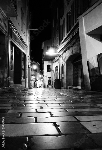 empty narrow street by night - old town - Hyères , France