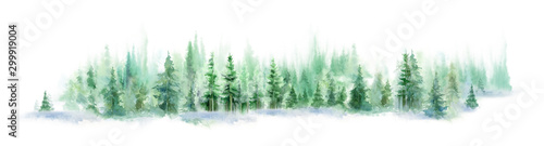 Fototapeta Landscape of foggy forest, winter hill. Wild nature, frozen, misty, taiga. watercolor background obraz
