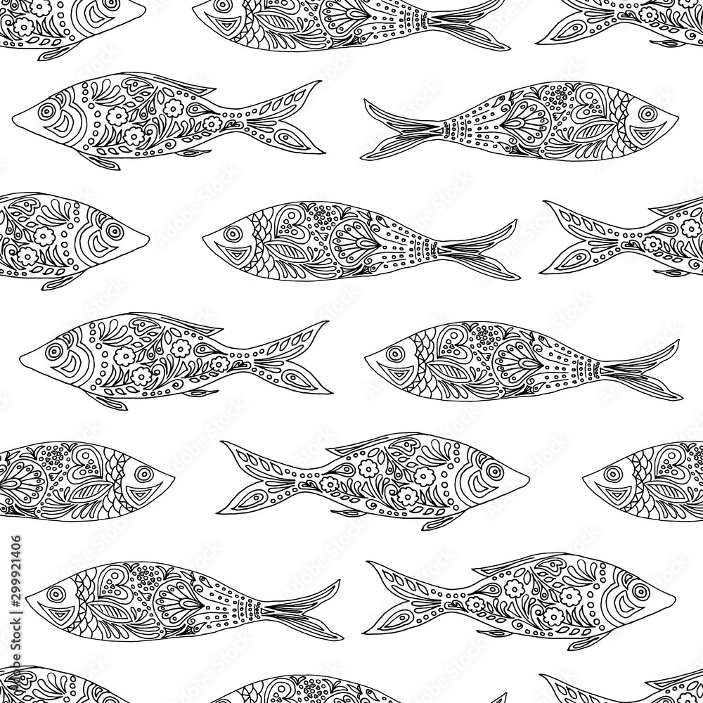 Fototapeta Black and white seamless pattern with sardine fish. single line drawing. Coloring. Coloring book. Coloring book with fish drawn in zentangle style. Antistress sketch. Vector illustration