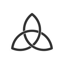 Celtic Trinity Knot. Triquetra Symbol. Three Parts Unity Icon. Ancient Ornament Symbolizing Eternity. Infinite Loop Sign Of Interlocking Shapes. Interconnected Loops Make Trefoil. Vector Illustration.