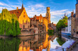canvas print picture - Classic view of the historic city center of Bruges (Brugge), West Flanders province, Belgium. Cityscape of Bruges.