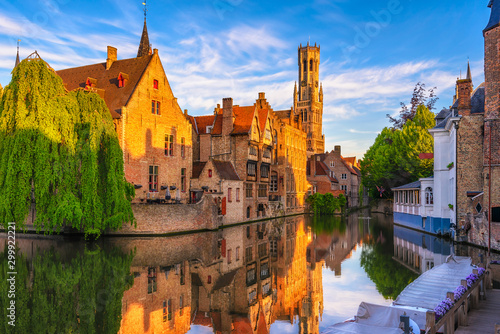 Classic view of the historic city center of Bruges (Brugge), West Flanders province, Belgium Wallpaper Mural