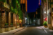 canvas print picture - Old street in Bruges (Brugge), Belgium. Night cityscape of Bruges. Typical architecture of Bruges