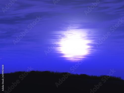 Fotobehang Donkerblauw 3D purple sunset sky landscape