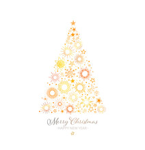 Christmas Tree Made Of Gold Stars On White Background. Christmas Greeting Card