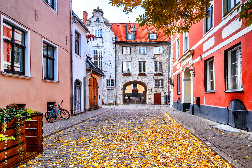 Medieval street in old town of Riga that is the capital of Latvia