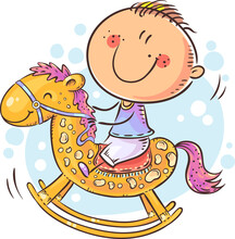 Little Child Riding A Toy Horse, Colorful